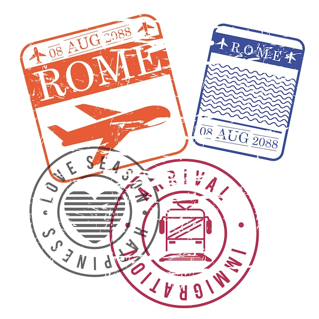 Airplane and train travel stamps Premium Vector