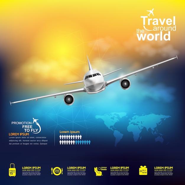 Путешествие на самолете по всему миру баннер Premium векторы