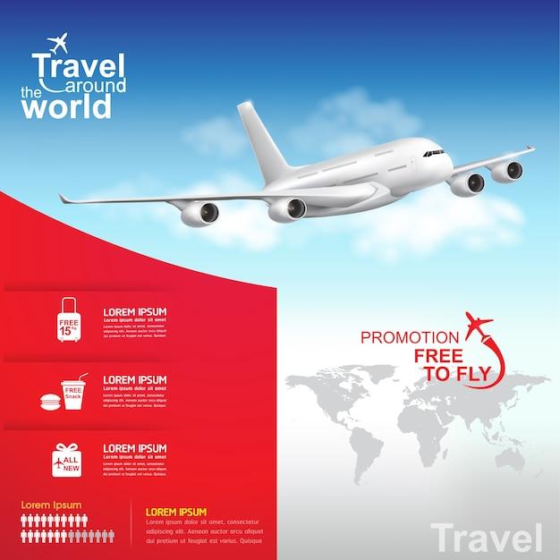 Airplane travel around the world banner Premium Vector