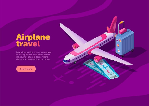 飛行機旅行の等尺性ランディングページ 無料ベクター