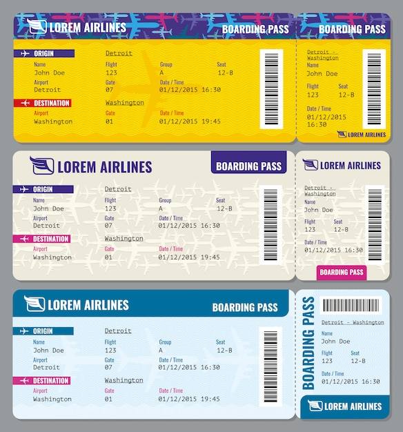 Airplane  traveling tickets template Premium Vector