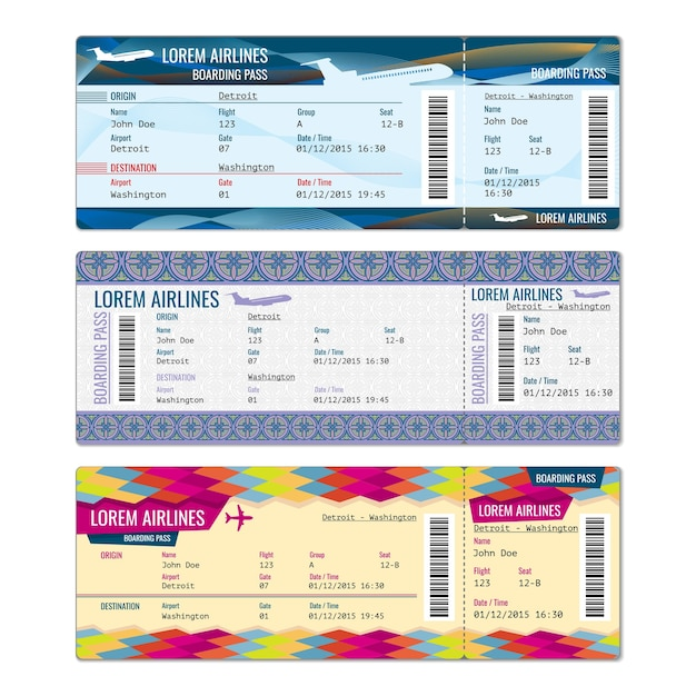 Airplane vector tickets set for plane, flight airline, pass boarding illustration Free Vector