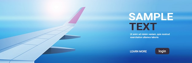 Airplane window view into open space sky with wing travel tourism air transportation concept copy space Premium Vector