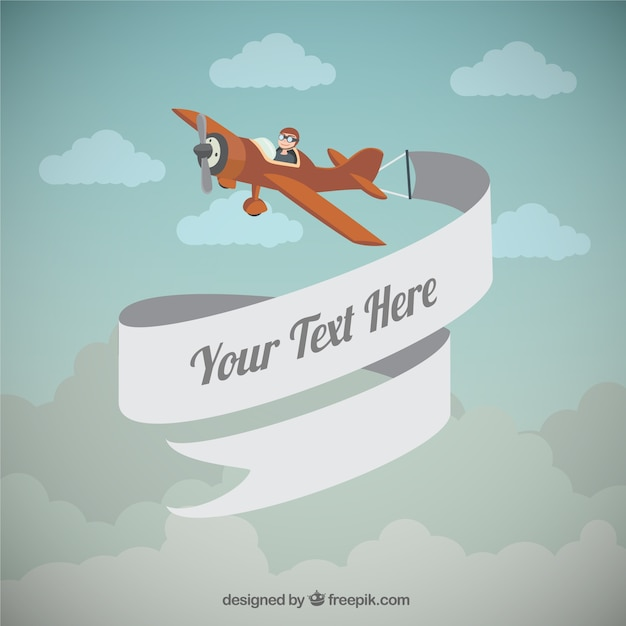Airplane with a banner Vector   Free Download