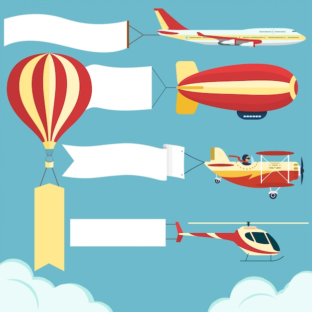 Airplane with blank board Premium Vector