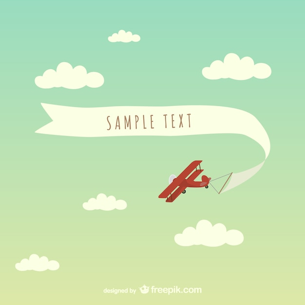 Airplane with message in a ribbon Free Vector