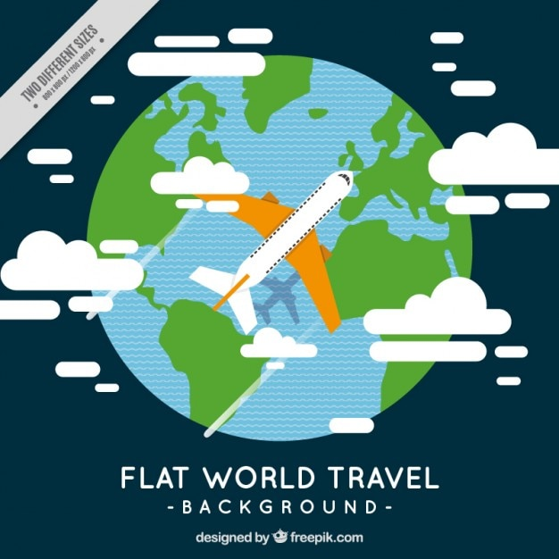 Airplane with the world background in flat\ design