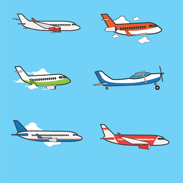 Airplanes flat design collection