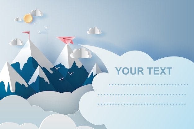 Airplanes flying above mountains on blue sky Premium Vector