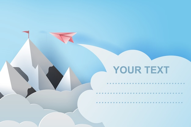 Airplanes flying above mountains. copyspace Premium Vector