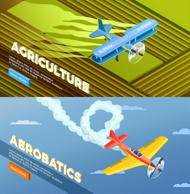 Самолет из вертолетов изометрической баннер с кнопкой «читать дальше» и изображениями сельскохозяйственных Бесплатные векторы