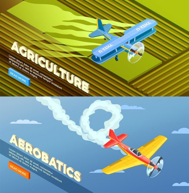 Airplanes helicopters isometric banner with read more button and images of agricultural Free Vector