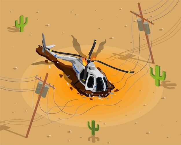 Самолеты вертолеты изометрической аварии с пустынными пейзажами иллюстрации Бесплатные векторы