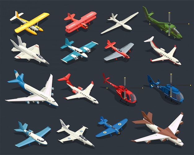 Airplanes helicopters isometric icons Free Vector