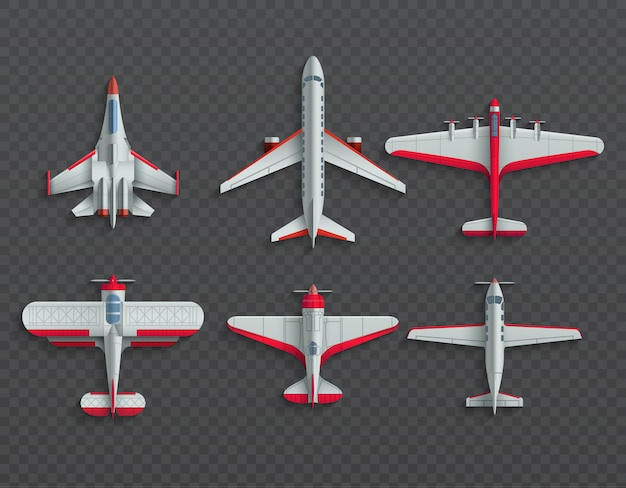 Airplanes and military aircraft top view. 3d airliner and fighter vector Premium Vector