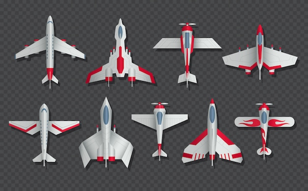 Airplanes and military aircraft top view set. 3d airliner and fighter. airplane top view, air transport model illustration Premium Vector