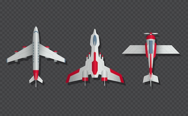 Airplanes and military aircraft top view. Premium Vector