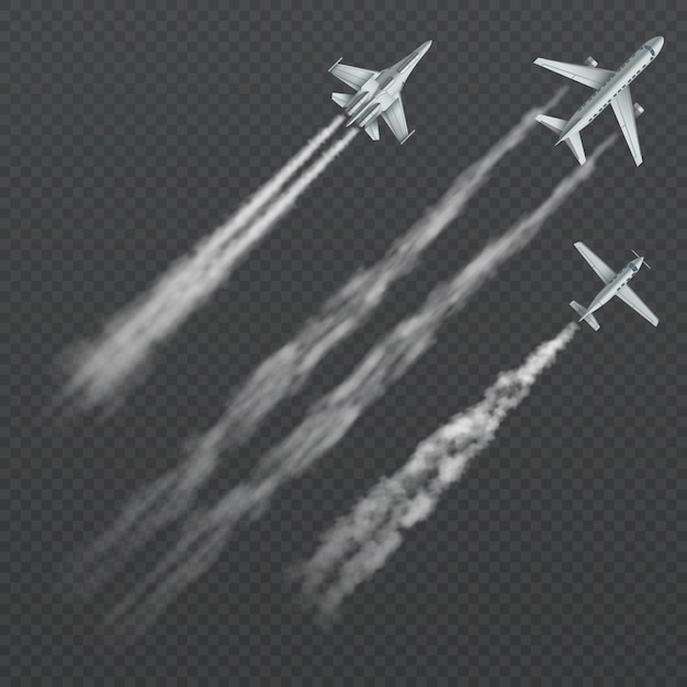Airplanes and military fighters with condensation smoky trail isolated collection. Premium Vector