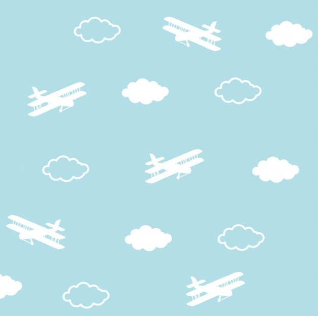 Airplanes pattern. Cute planes and\ clouds.