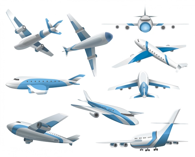 Airplanes on white background. airliner in top, side, front view and isometric. realistic aircraft. passenger plane, sky flying aeroplane and airplane in different views Premium Vector