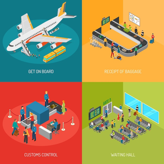 Airport 2x2 images concept Free Vector