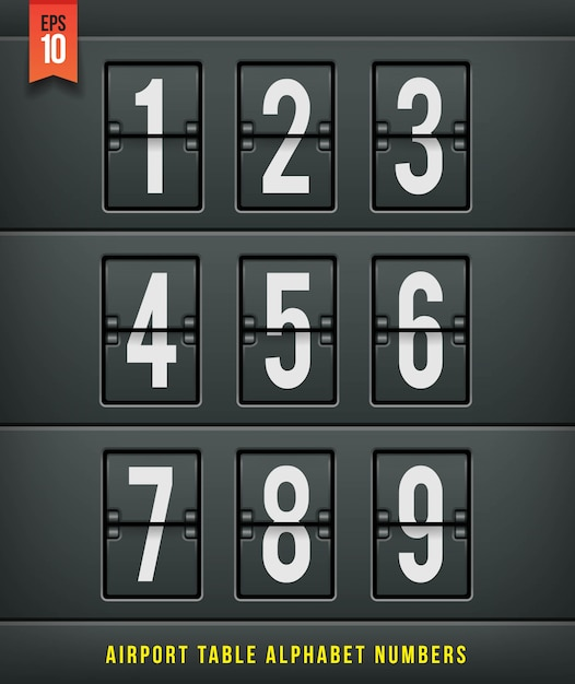 Airport arrival table alphabet.  illlustration. Premium Vector