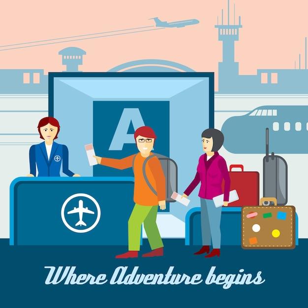 Sfondo aeroporto in stile piatto. illustrazione di imbarco e controllo passaporti, biglietti e turismo. concetto di vettore di viaggio Vettore gratuito