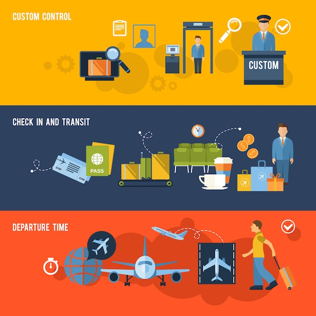 Airport banner set with elements composition Free Vector