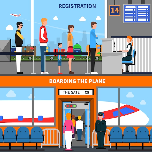 Airport banners set Free Vector