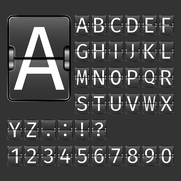 Airport board alphabet Free Vector