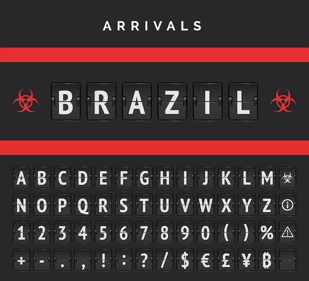 Airport board arrivals analog vector font. flights from brazil closed due to pandemic. red biohazard sign Premium Vector