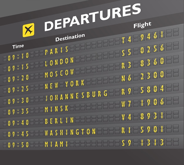 Airport board Free Vector