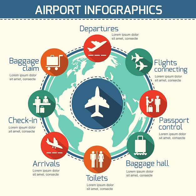 Airport business infographic presentation template concept design airport business infographic presentation template concept design world map and airport service icons vector illustration free gumiabroncs Choice Image