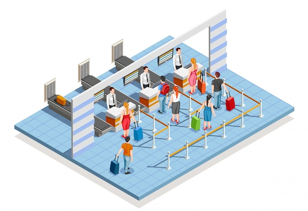 Airport check-in area composition Free Vector