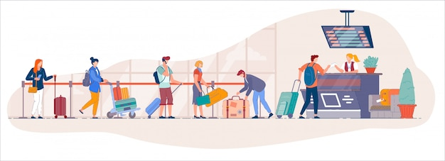 Airport check in desk. traveler queue from airport terminal check in counter for drop-off luggage to security line. cartoon vector people with suitecase stand in queue to for registration to departure Premium Vector