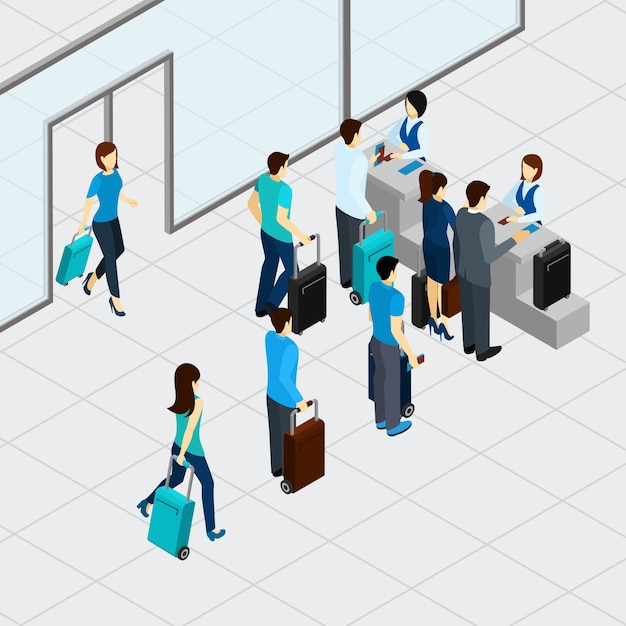 Airport check in line Free Vector