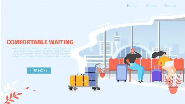 Airport comfortable waiting area vector web banner Premium Vector