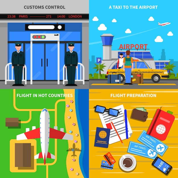 Airport concept 4 flat icons square Free Vector