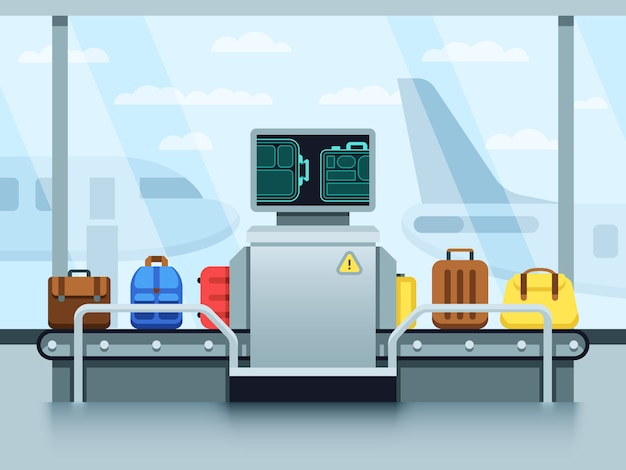 Airport conveyor belt with passenger luggage and police scanner