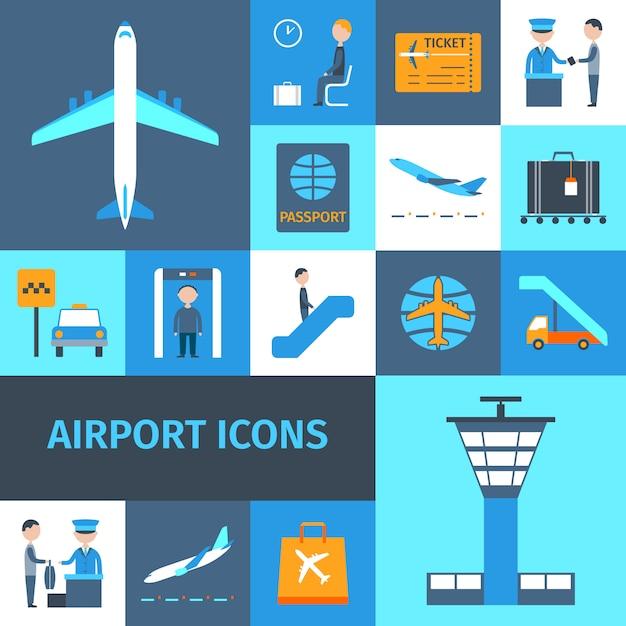 Airport decorative icons set Premium Vector