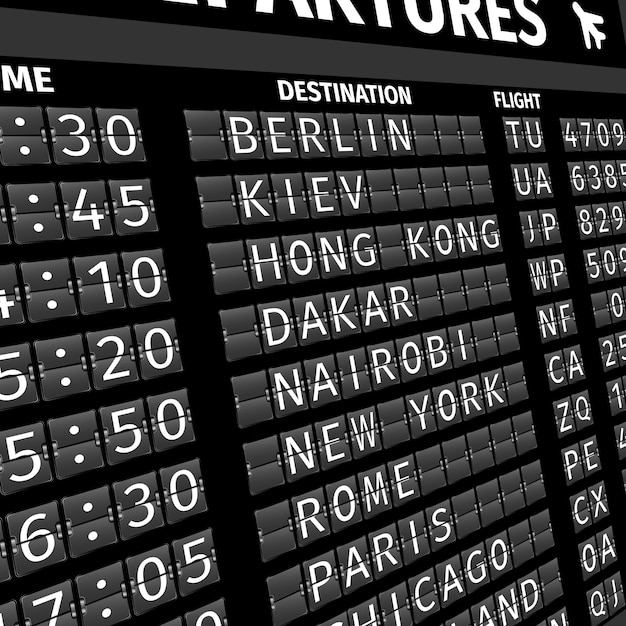Airport departure board in perspective Free Vector
