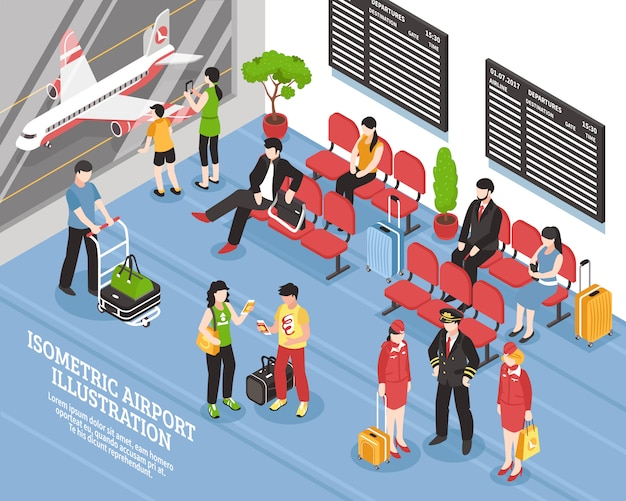 Airport departure lounge isometric poster Free Vector