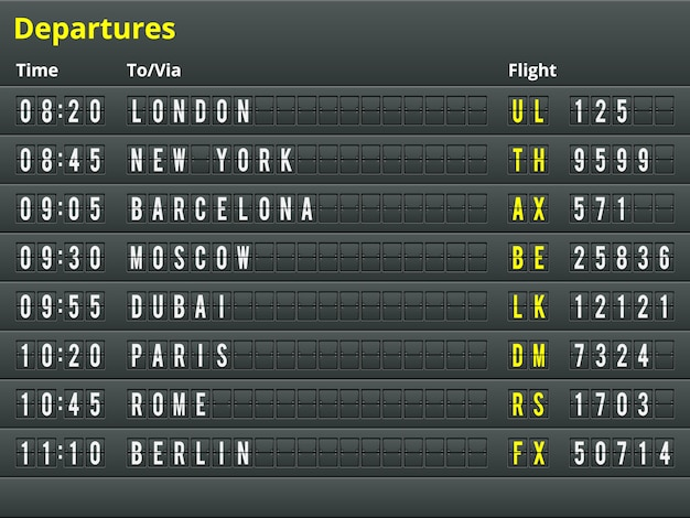 Airport departures table.  illustration for alphabet with letters and numbers. Premium Vector