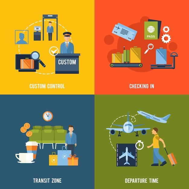 Airport elements composition set Free Vector