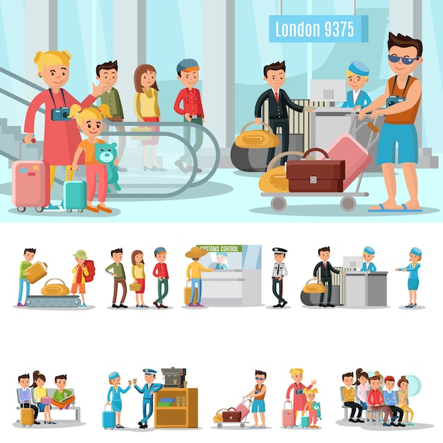 Airport elements concept Free Vector