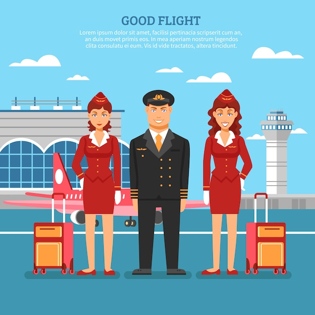 Airport employees poster Free Vector
