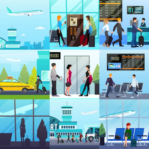 Airport express compositions set Free Vector