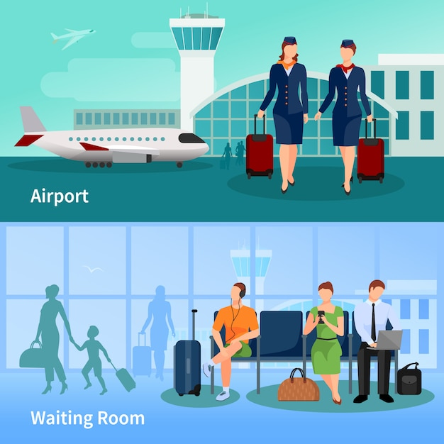 Airport flat compositions Free Vector