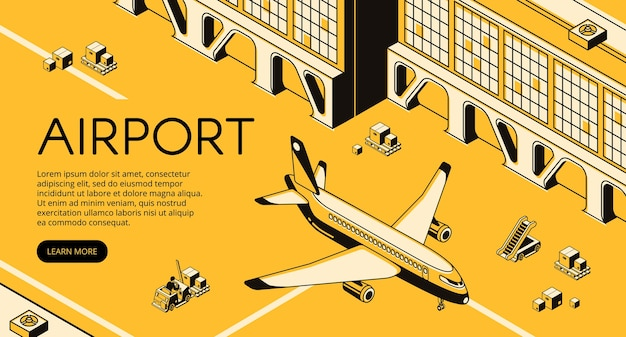 Airport freight logistics illustration of airplane, parcels on forklift loader pallet Free Vector