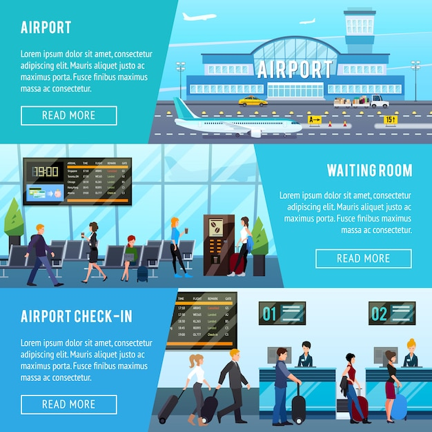 Airport horizontal banners set Free Vector